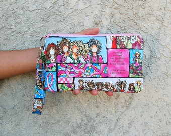 LAST ONE - Pink Ribbon Breast Cancer Awareness - Wristlet Purse with 2 Interior Pockets