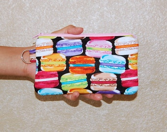 French Macarons - iPhone 6s, iPhone 6, iPhone 5, iPhone 4, Samsung Galaxy S5/S6 - Cell Phone Gadget Zipper Pouch / Coin Purse