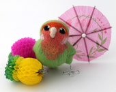 Needle Felted Green Lovebird Peach Faced Lovebird Ornament
