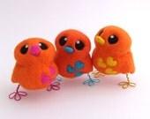 Needle Felted Orange Bird Design Your Own