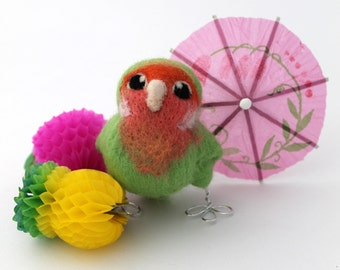 Needle Felted Green Lovebird Peach Faced Tropical Lovebird Ornament