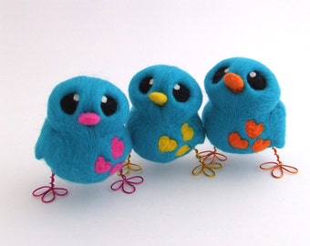 Needle Felted Turquoise Bird Design Your Own Blue Bird