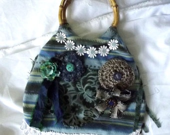 Embellished Bag, Small Purse, Blue, Green, Hippie, Flowers, Bamboo Handles, Fringe, Boutique, Beach