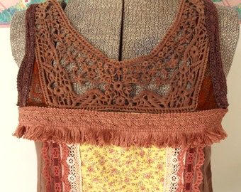 Embellished Boho Top, Summer Top, Tunic, Brown Top, Altered Couture, Festival Clothing, Bohemian Style, Cowgirl Chic