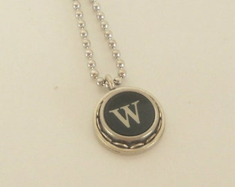 CIJ SALE Typewriter Key Necklace  - Vintage - Initial Jewelry -  ALL Letters Available - Typography Jewelry