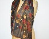 Vintage Halston Silk Scarf -Foral Semi Sheer Scarf-long silk Designer scarf