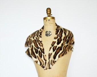 Mink collar -Real mink faux leopard  fur collar scarf-stenciled mink fur collar scarf