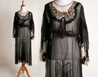 Vintage Sheer 1920s Dress - Black and Nude Long Sleeve Flapper Dress