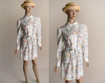 Vintage 1970s Floral Dress - Joseph Magnin White Flower Print Eyelet Spring Bouquet Dress - Medium Small