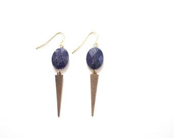 Spear Lapis Earrings | Brass | Gold Fill | Sterling Silver