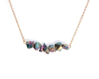 Titanium Druzy Nuggets Necklace - Brass, Gold Fill or Sterling Silver
