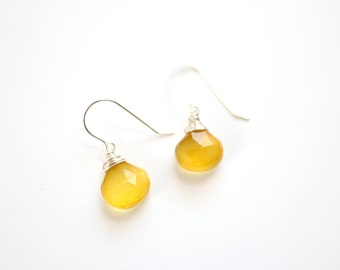 Wrapped Yellow Chalcedony Briolette Earrings - Gold Filled or Sterling Silver