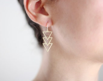 Triple Triangle Arrow Earrings - Gold or Silver