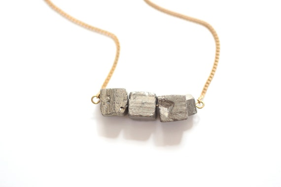 Triple Pyrite Cube Long Necklace - Brass, 14k Gold Fill, Sterling Silver