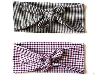 Tie Up Headscarf Gingham