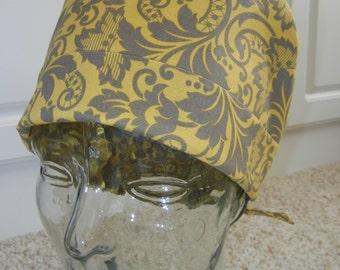 Tie Back Surgical Scrub Hat in Golden Gray Floral