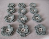 Crochet flowers,Crochet Applique Flowers ,12 pcs,mint green