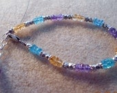 Reserved for Anna, Sterling Silver Citrine, Apatite and Amethyst Bracelet