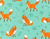 Fox Fabric, Forest Fellows fox in nature fabric by Sea Urchin Studio-Aqua, Woodland Animals Fabric. Choose your cut. Free Shipping available