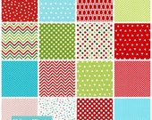 Christmas Fabric, Holiday Fabric, Quilting Fabric, Gift for Her- Remix Fabric Bundle of 16, You Choose the Cut, Free Shipping Available