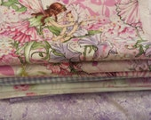 Designer Pink & Purple Fairy Scrap Bundle Destash Assortment Four Pieces Flat Rate Shipping Perfect For Quilt Making