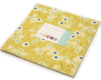 """Green Simply Colorful II Moda Layer Cake, 20 - 10"""" precut fabric quilt squares by V & Company"""