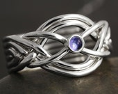 Iolite cabochon handmade 6 band puzzle ring in sterling silver