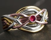 Solid gold 6 band puzzle ring with natural ruby cabochon - white gold, rose gold, yellow gold, 10kt, 14kt, 18kt