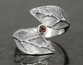 Garnet leaf ring in sterling silver - elf pixie tribal boho
