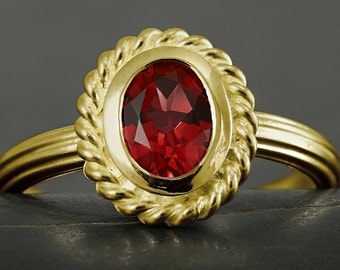Pyrope garnet engagement ring in solid gold, 10kt, 14kt, 18kt, white gold, yellow gold, rose gold, antique style, victorian, bohemian