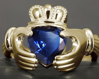 Solid gold men claddagh ring with natural sapphire  - Available rose, yellow and white gold 10kt, 14kt and 18kt