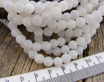 6mm Frosted Agate Beads - White Matte Crackle Striped Agate beads - Smooth Round Beads Banded Cracked agate 6 mm Beads
