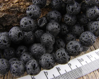 8mm Black Lava Rock Beads, Round Nugget Lava Beads Rustic Earthy 8 mm Lava Stone Beads, Diffuser Beads, 8mm Beads, Basalt Beads