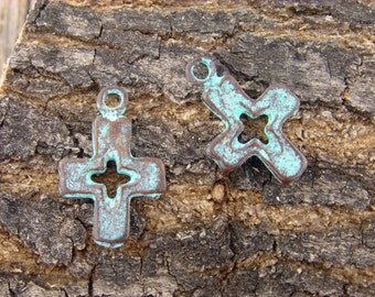 2 Cross Charms, Green Patina over Bronze Color - 27mm Rustic Aged Charm - Lead Free Mykonos - cross charms with cutout