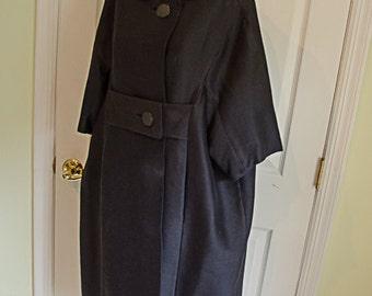 Vintage 1950's Audrey Style Sacque Style Black Coat