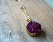 Purple Druzy Necklace With Gold Filled Beaded Chain Druzy Jewelry Drusy Gemstone Boho Holiday Jewelry Fall Fashion Gifts Under 100