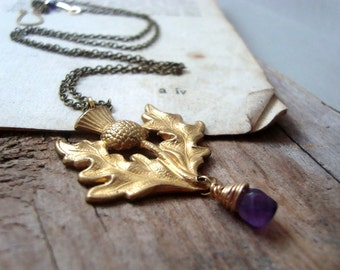 Scottish Thistle Necklace With Amethyst - February Birthstone Amethyst Jewelry Gemstone Jewelry Brass Jewelry Vintage Style Scotland