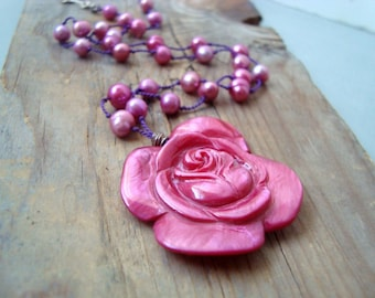 Pink Rose and Pearl Necklace - Boho Chic Valentines Jewelry  Pearl Jewelry June Birthstone Statement Necklace Gifts For Her Romantic