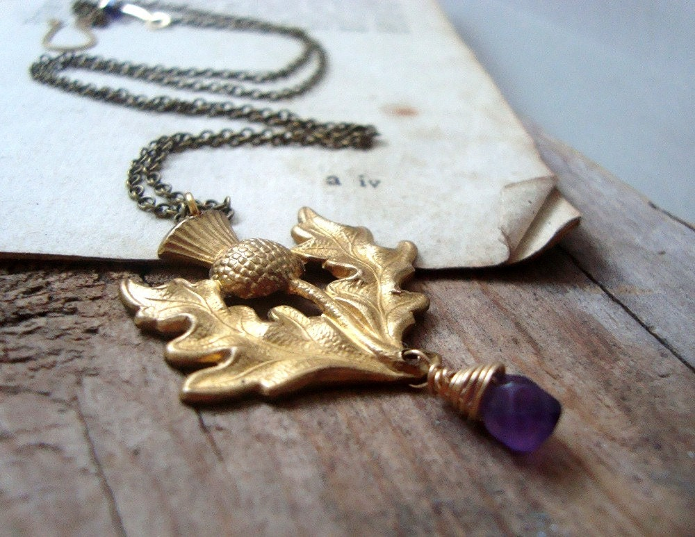 scottish thistle necklace with amethyst february