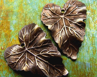 Medium Brass Leaf Charms - 2 pcs - Wavy Hand Antiqued Brass Leaves  - Patina Queen