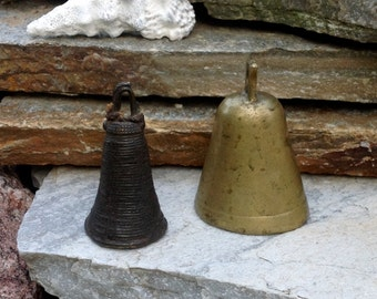 FREE SHIPPING-Vintage-Set of 2-Brass/Bronze Bells-Ethnic Bells-Meditation Bells-Hippie-Bohemian-Gypsy-Heavy Bells-Rustic-Primitive