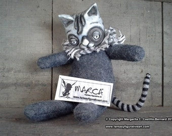 Cat anime style suitable for BJD prop miniature art doll mixed media