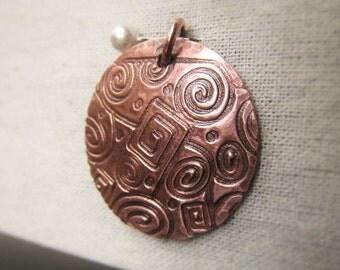 Copper Circle Pendant Hammered Copper Pendant Oxidized Copper Circle Item No. 1165