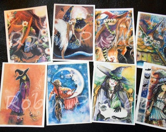8 for 8  Festive Witch Samplers , ACEO ART PRINTS