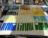 Choose your Stained Glass Strips for Wind Chimes, Mosaics, reds, iridescent, etc. 8 pcs. S 51