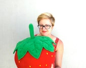 Oversized Strawberry Pillow - Bigger than Your Head Plush Fruit