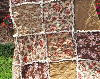 Brown and Pink Rag Quilt - Extra Large Lap Quilt - Pretty Flowers - Rosebuds