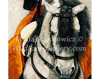 Spanish Horse Art, Caballero Andalusian Horse Print, Horse Art, Horse Print, Horse Painting, Spanish Horse, spanish decor, horse decor