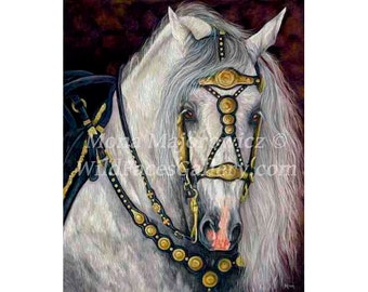 Spanish Horse, Andalusian Painting, Andalusian Art, Spanish Gold, Andalusian Horse art, Horse Print, horse gifts, spanish decor, horse decor
