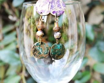 Vintage Brass Earrings, Painted Brass Earrings, Gypsy Earrings, Boho Earrings, Colorful, Drum Beat Hand Painted Brass Post Earrings